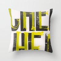 notorious Throw Pillows featuring Notorious Wisconsin by Abby Hoffman