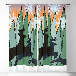 Deer and Winter Snowflakes Blackout Curtain