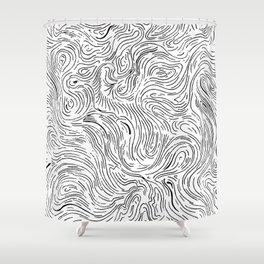 Abstract Digital Black Vector Art Artwork Drawing Painting Illustration (P12 209) Shower Curtain