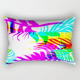Glitch botany palm leaves set and summer jungle watercolor palm. Rectangular Pillow