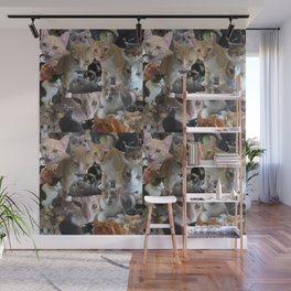 Cats of the neighborhood pattern Wall Mural