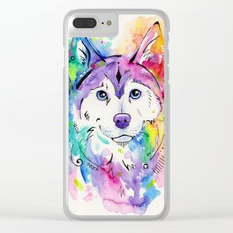 Happy - Siberian Husky Watercolor Art Clear iPhone Case