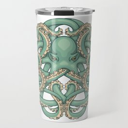 Octopus Emblem Green Travel Mug