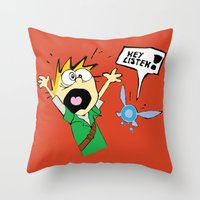 calvin and hobbes Throw Pillows featuring Calvin the Timeless Hero by DonCorgi