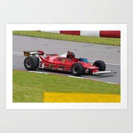Sketch of F1 Champion Gilles Villeneuve - year 1980 car 312 T5 Art Print