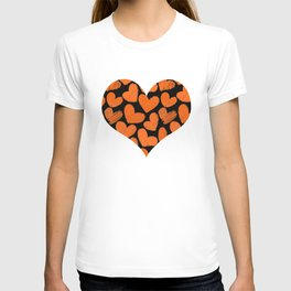 Sketchy hearts in orange and black T-shirt