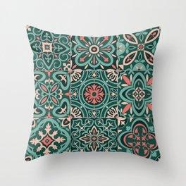 Peranakan Art Nouveau Tiles (Mixed Patterns in Peach Garden) Throw Pillow
