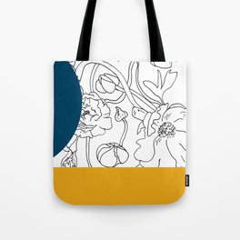 VESSEL - Floral Ink in Peacock & Mustard - Cooper and Colleen Tote Bag