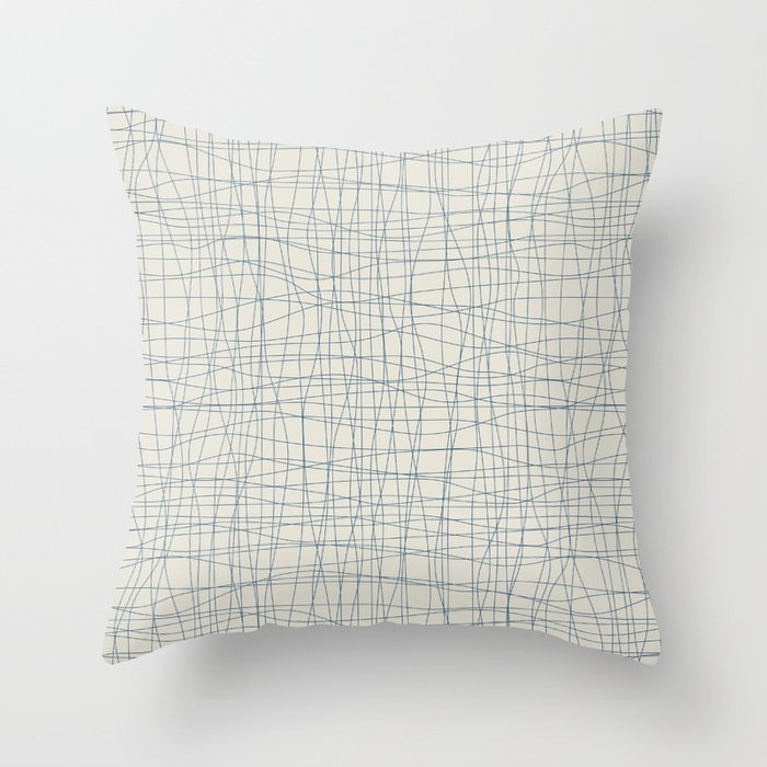 Dark Blue Hand Drawn Mosaic Pattern on Linen White Pairs To 2020 Color of the Year Chinese Porcelain Throw Pillow