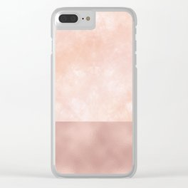 Rose-Gold Metallic and White Rose Marble Clear iPhone Case
