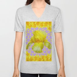 ABSTRACT YELLOW SPRING IRIS GOLDEN DAFFODILS FRAME Unisex V-Neck