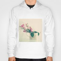 shabby chic Hoodies featuring Shabby Chic Roses - Retro Vintage Pink Floral Photography on beige background by Caroline Mint