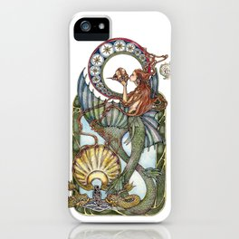 Maid of the Deep - With Gold Dolphins iPhone Case