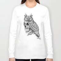bioworkz Long Sleeve T-shirts featuring Great Horned Skull by BIOWORKZ