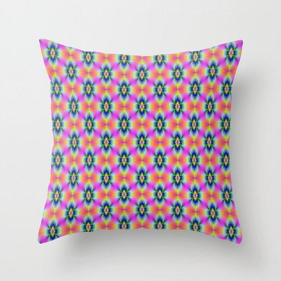 Flower in Neon tiled Throw Pillow