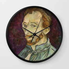 Reproduction of Van Gogh - Self Portrait Wall Clock