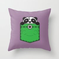pocket Throw Pillows featuring Pocket Panda by Steven Toang