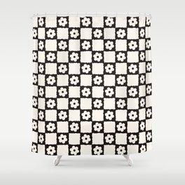 Retro Flower Checker in Black&White Shower Curtain