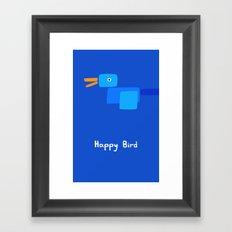 Happy Bird-Blue Framed Art Print