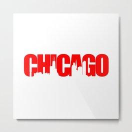 Chicago (Illinois) Skyline - Red Metal Print