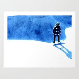 Skate into the blue Art Print
