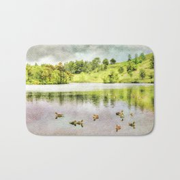 Ducks on the Water, Lake District, Cumbria, UK. Watercolor Painting. Bath Mat