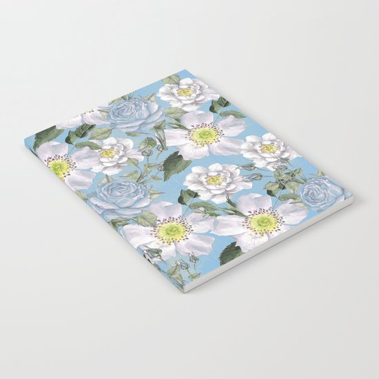 Vintage Rose Pattern Blue Notebook