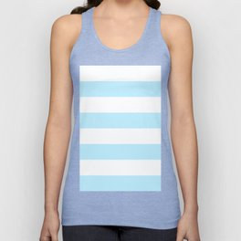 Wide Horizontal Stripes - White and Light Blue Unisex Tank Top
