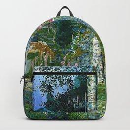 Wilderness Landscape, Wild Foxglove Flowers, White Birch, Stream & Cattle by Nikolai Astrup Backpack