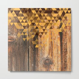 Triangle Wood Grain Metal Print