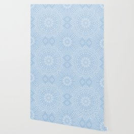 Baby Blue Boho Mandala Wallpaper