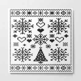Christmas Cross Stitch Embroidery Sampler Black And White Metal Print