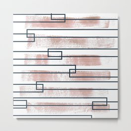 Abstract lines watercolor and geometric painting Metal Print