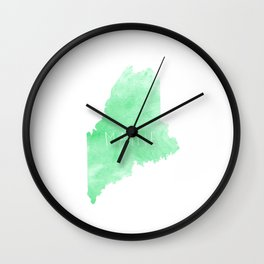 Maine State in Green Watercolor Wall Clock