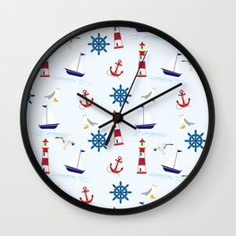 Nautical Collage Wall Clock