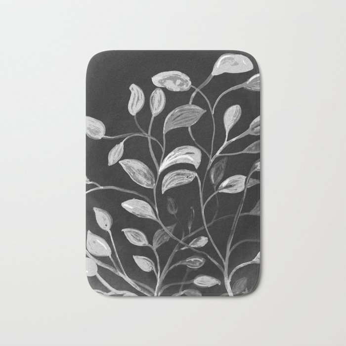 Red and Green Leaves! Monochrome Black and White and Grey Bath Mat