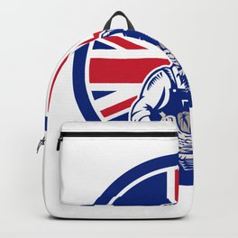 British Female Organic Farmer Union Jack Flag Icon Backpack