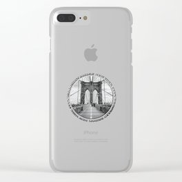 Brooklyn Bridge New York City (black & white with text) Clear iPhone Case