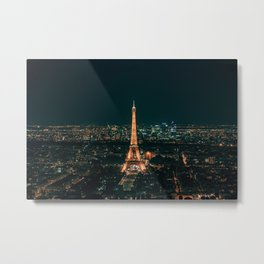 Effel Tower Night Paris Metal Print