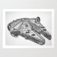 millenium falcon Art Prints featuring Millenium Falcon by Jack Kershaw