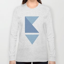 Origami Indigo Triangles Long Sleeve T-shirt