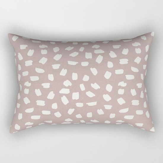 Simply Ink Splotch Lunar Gray on Clay Pink Rectangular Pillow