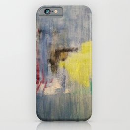 Rainy Day Grey, Rain, Water, Car, Abstract, Blue, Painting by Jodi Tomer iPhone Case
