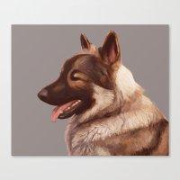 german shepherd Canvas Prints featuring German Shepherd by Lauren Rakes