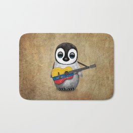 Baby Penguin Playing Colombian Flag Acoustic Guitar Bath Mat