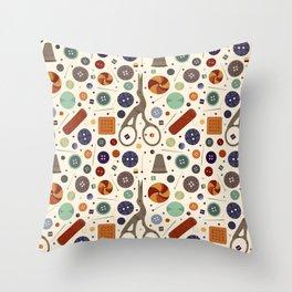 Tailor Shop Seamless Pattern Throw Pillow