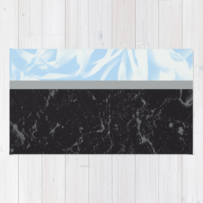 Light Blue Flower Meets Gray Black Marble #3 #decor #art #society6 Rug