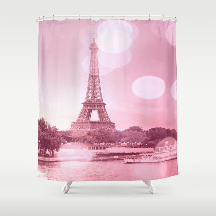 Paris Eiffel Tower Pink Bokeh Shower Curtain By Lilkiddies