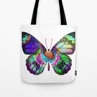 lsd Tote Bags featuring LSD butterfly by Pink Eyed Paranoia