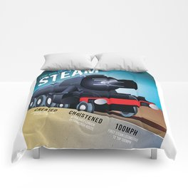 THE GOLDEN AGE OF STEAM VINTAGE POSTER Comforters